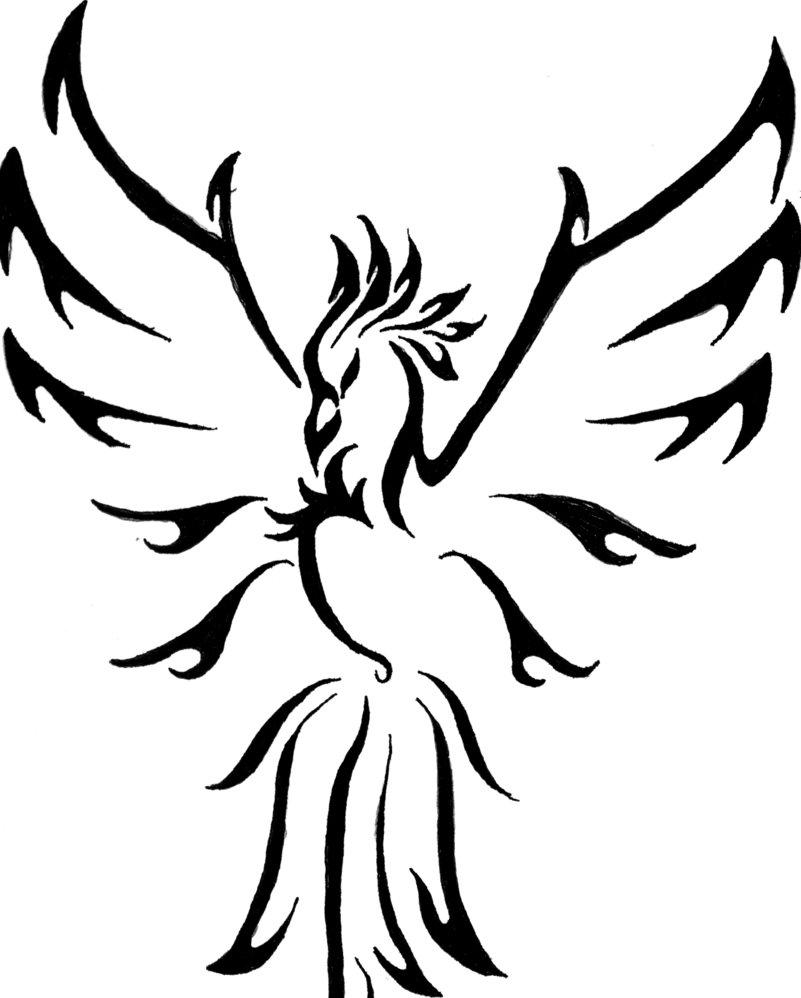 1f128f01e195d Outline Tribal Flying Phoenix Tattoo Design