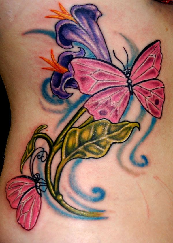Pink Butterflies And Purple Flowers Tattoo On Side Rib