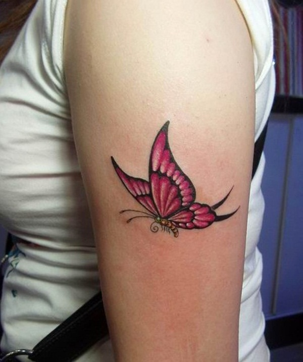 pink flying butterfly tattoo on left bicep. Black Bedroom Furniture Sets. Home Design Ideas
