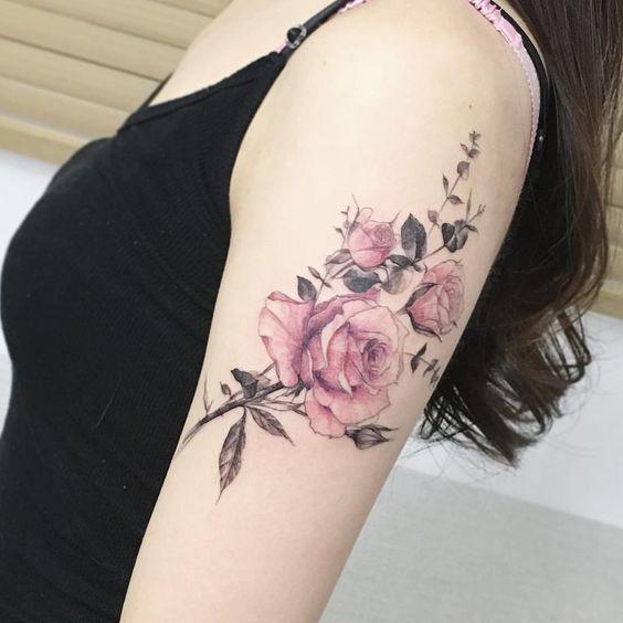 Pink rose flowers tattoos on left bicep mightylinksfo