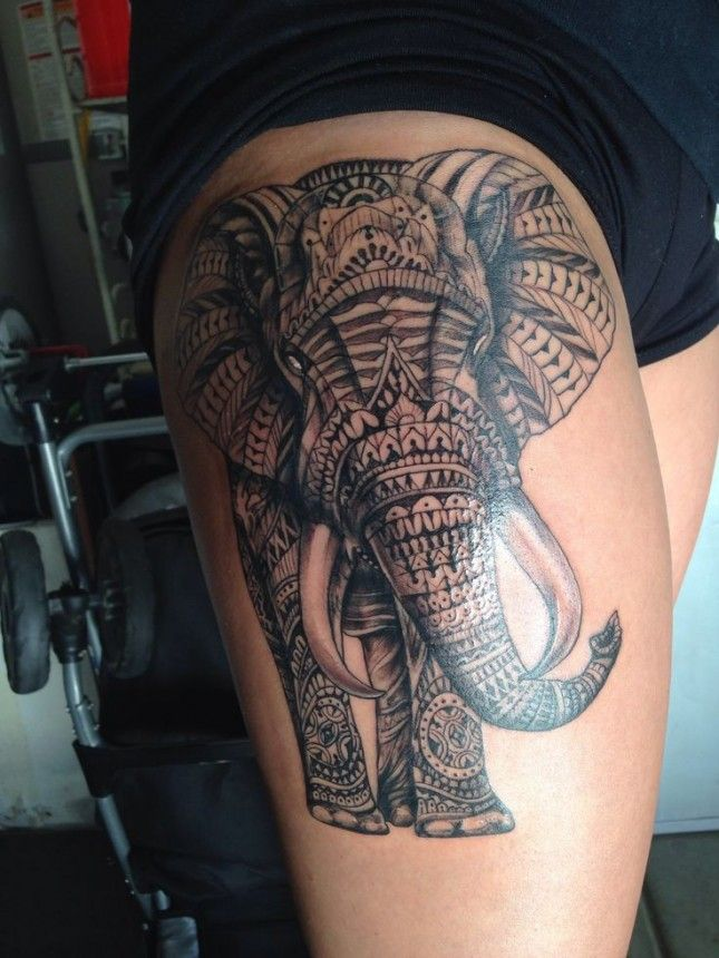 Polynesian elephant tattoo on side thigh for Getting thigh tattoo