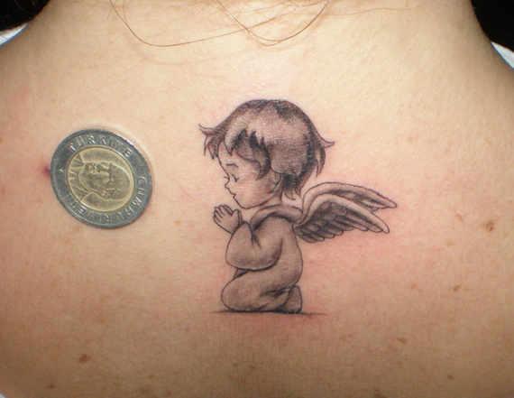 Praying Baby Angel Tattoo On Upper Back