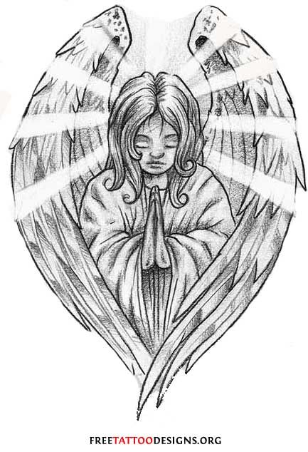 Praying Baby Angel With Open Wings Tattoo design