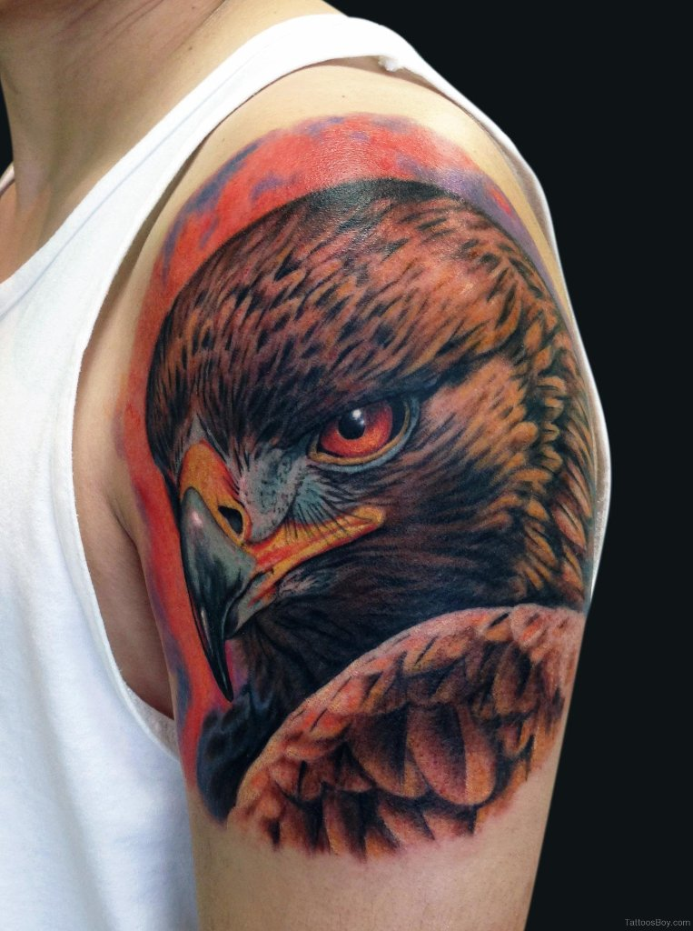 realistic eagle head tattooed on man left shoulder. Black Bedroom Furniture Sets. Home Design Ideas