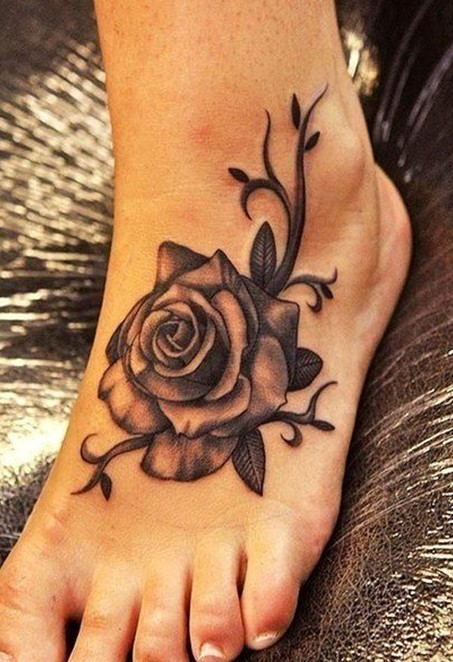 Realistic Grey Rose Flower Tattoo On Left Foot