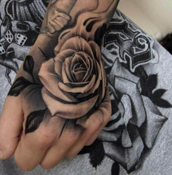 Realistic Grey Rose Tattoo On Left Hand