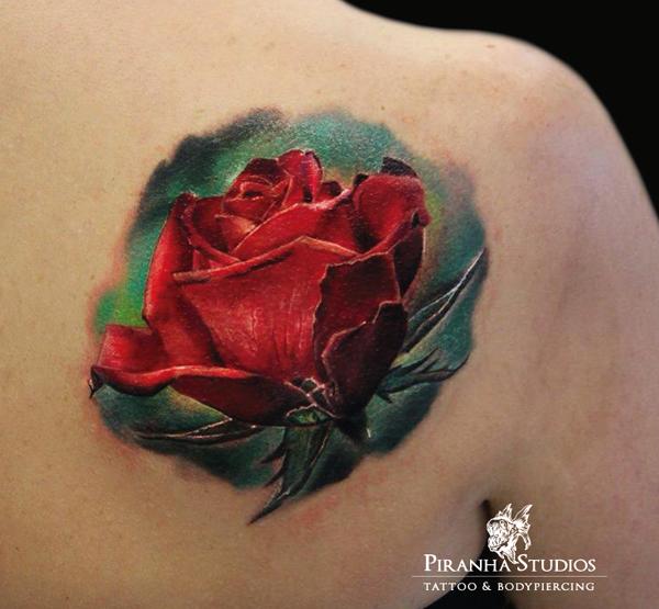 realistic red rose tattoo on right back shoulder. Black Bedroom Furniture Sets. Home Design Ideas