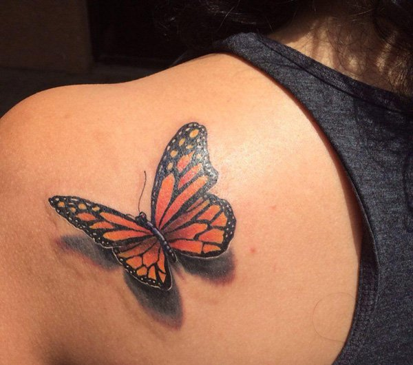 Realistic Monarch Butterfly With Shadow Tattoo On Left Back Shoulder