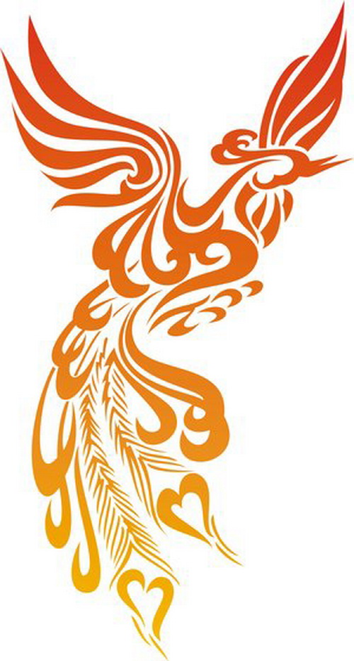 red and orange ink tribal phoenix tattoo design