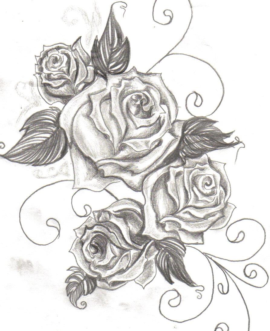 Rose Flowers Tattoos Design Sample
