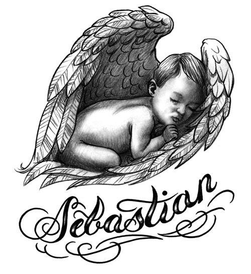 Sebastian - memorial baby angel tattoo design