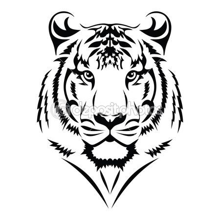 Simple Tiger Face Tattoo Design