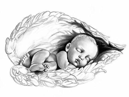 Sleeping baby Angel Wings Tattoo Design by Lauren Eldridge-Murray