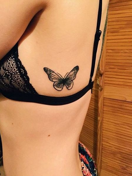 Small Butterfly Tattoo On Girl Side Rib