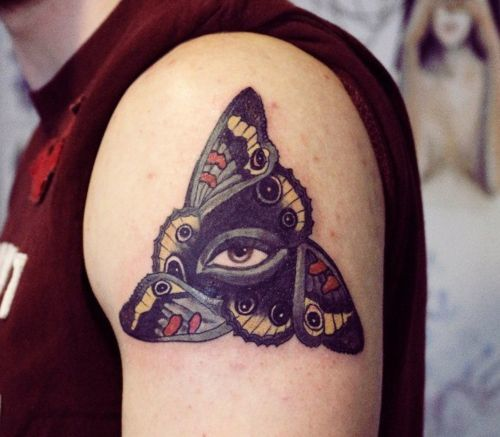 Steam Punk Eye in Butterfly Tattoo On Left Shoulder