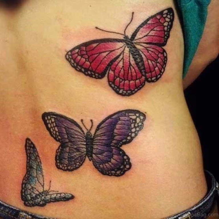 504369d7c3b6a Three Butterflies Flying Tattoo On Lower Back
