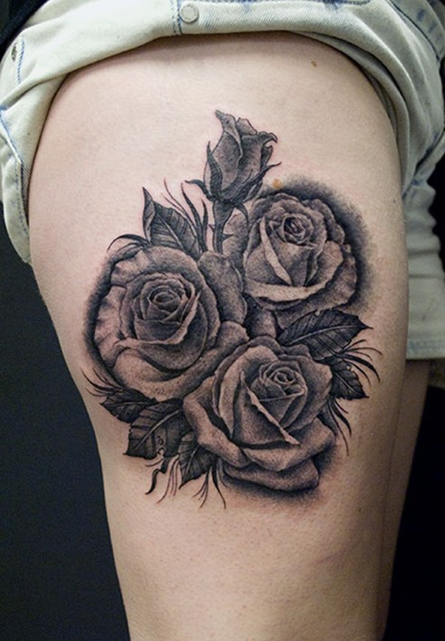 Three Grey And Black Roses Tattoo On Side Thigh