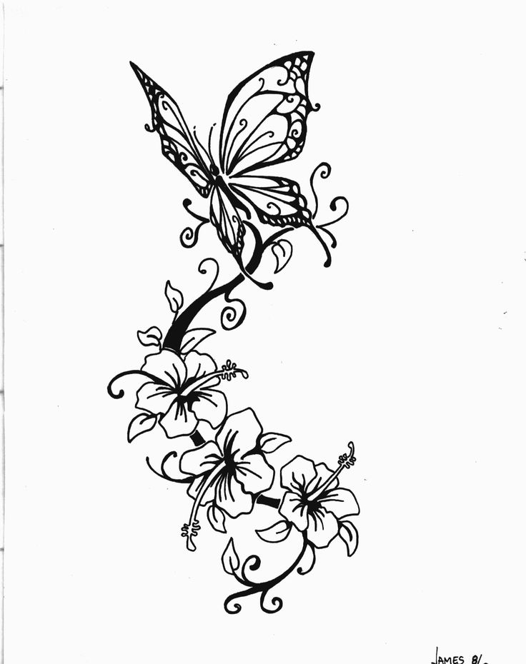 eba034f74 Three Lily Flowers And Butterfly Tattoo Design
