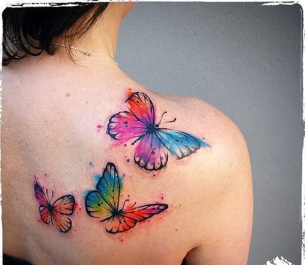 three watercolor flying butterflies tattoos on back shoulder. Black Bedroom Furniture Sets. Home Design Ideas