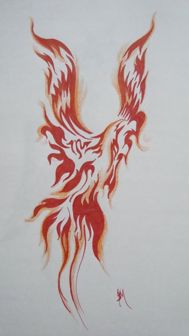 tribal fire flame phoenix tattoo design. Black Bedroom Furniture Sets. Home Design Ideas