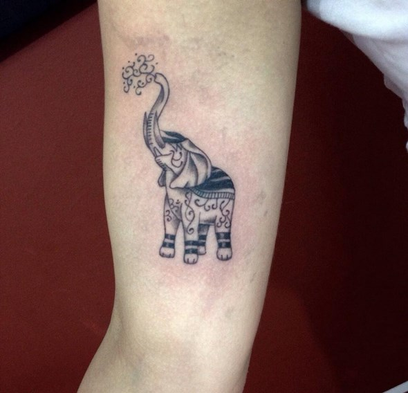 Up Trunk Elephant Tattoo On Bicep