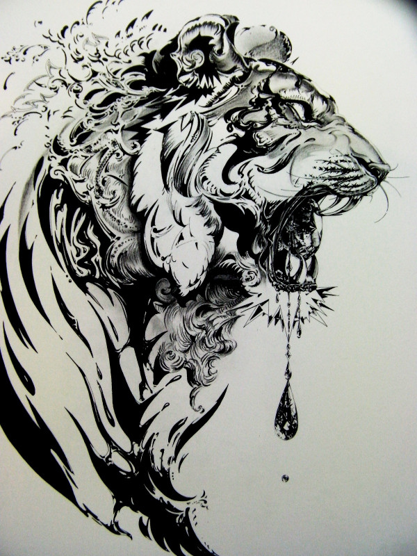 Water Splash Tiger Head Tattoo Design