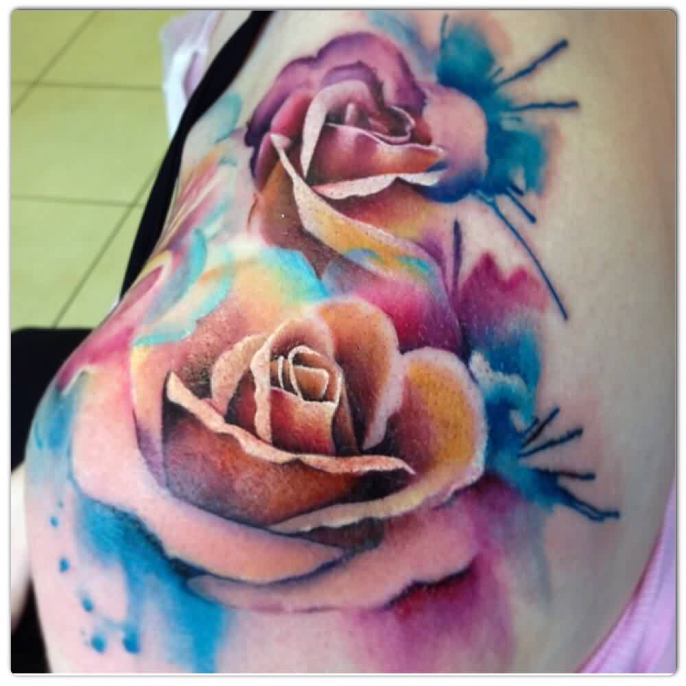 Watercolors Rose Flowers Tattoo On Left Shoulder