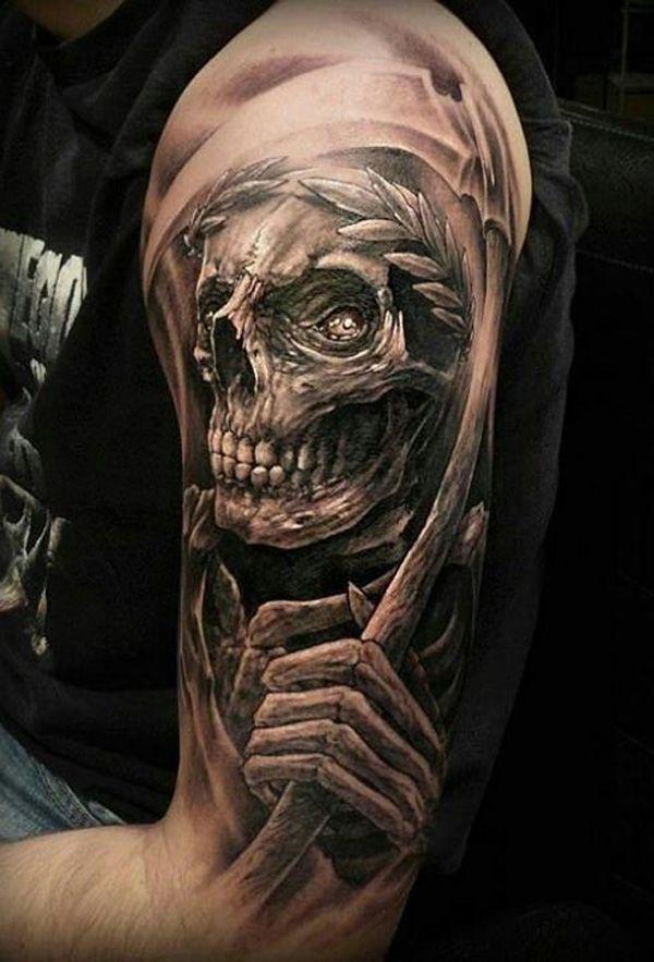 f7f565a97e063 3D Grim Reaper Skull Tattoo On Left Half Sleeve