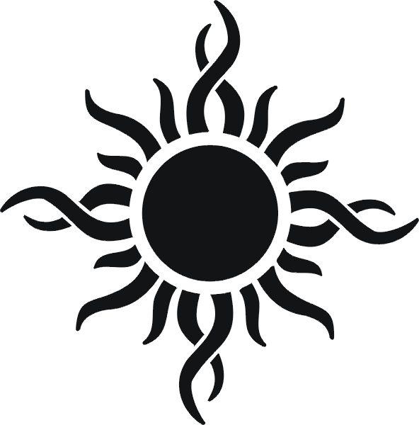 Awesome Black Tribal Sun Tattoo Design Sample