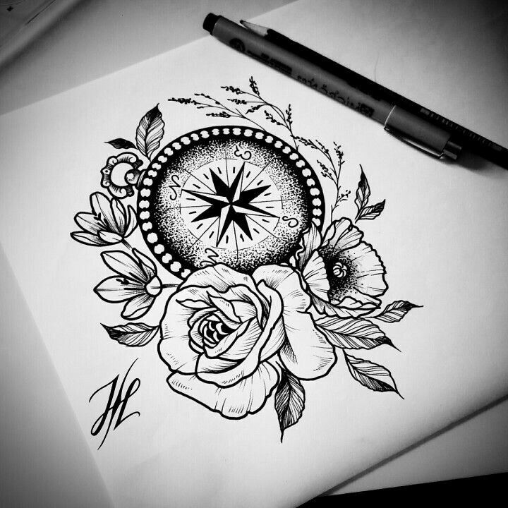 Awesome Flowers And Compass Tattoo Design