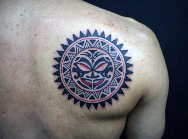 Back Shoulder Taino Sun Tattoo On Back Shoulder