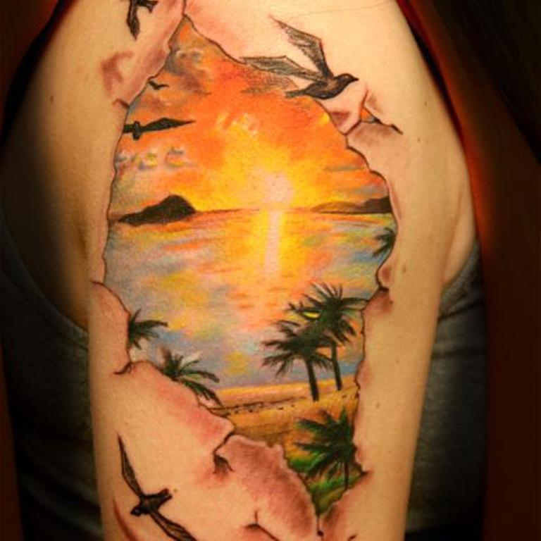 Beach View Realistic Sun Tattoo On Girl Right Shoulder