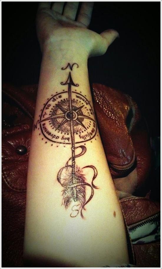 e4c10146fd80f Beautiful Arrow And Compass Tattoo On Right Forearm