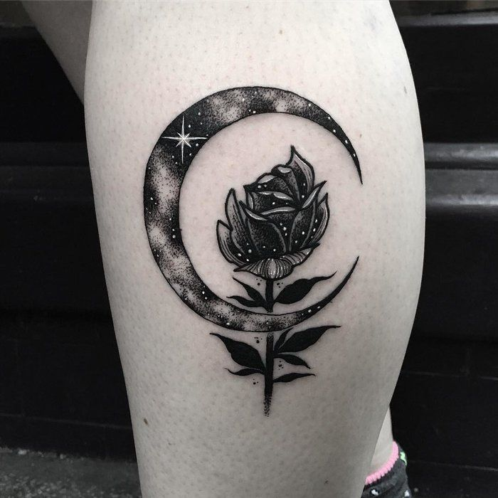 Beautiful rose flower and crescent moon tattoo on back leg for Half moon and star tattoo