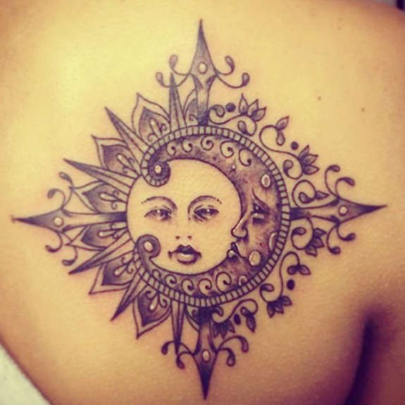 Beautiful Traditional Moon And Sun Tattoo On Back Shoulder