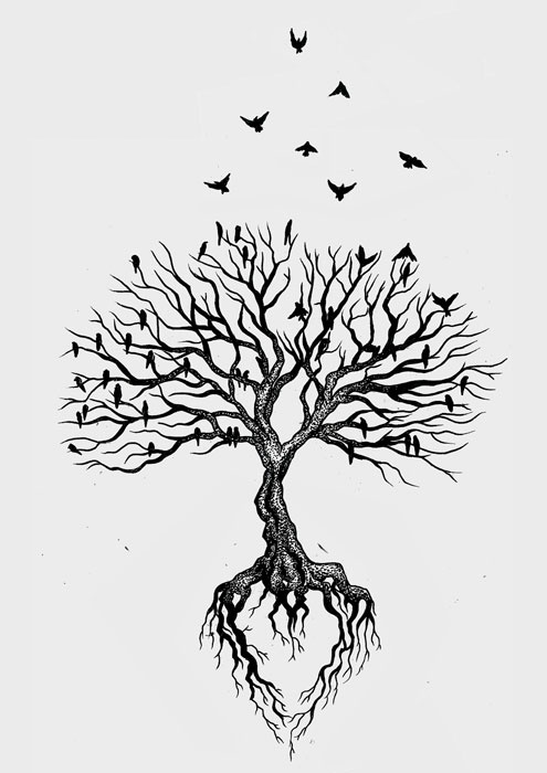 birds flying and tree without leaves tattoo design
