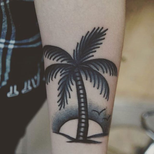 871af1299 Black And Blue Palm Tree Tattoo On Left Forearm