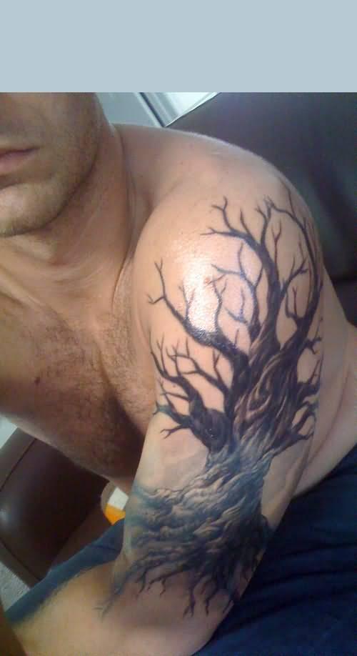 Black And Grey Oak Tree Tattoo On Left Half Sleeve