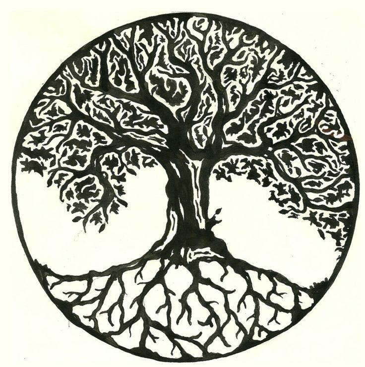 Black And White Ash Tree Tattoo Design