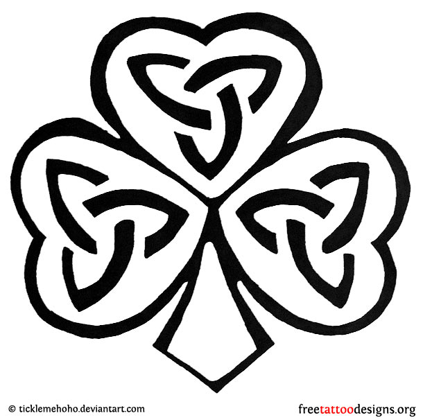 black and white celtic shamrock tattoo design