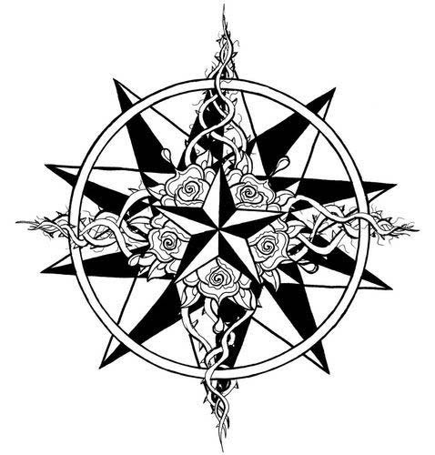 Black and white nautical star tattoo design idea