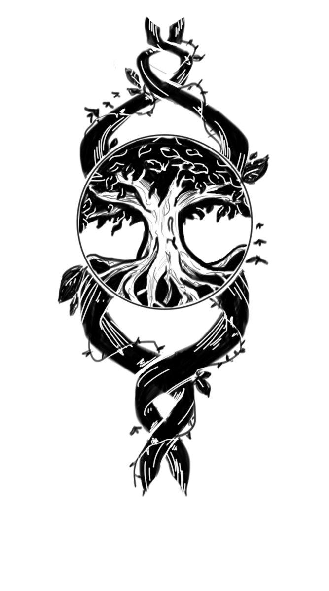 Black And White Tree Of Life Tattoo Design