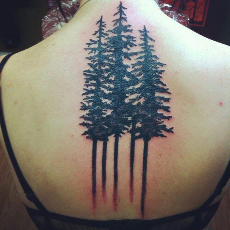 Black Ink Pine Tree Tattoos On Girl Upper Back
