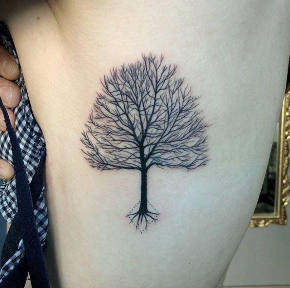 black oak tree tattoo on rib side. Black Bedroom Furniture Sets. Home Design Ideas