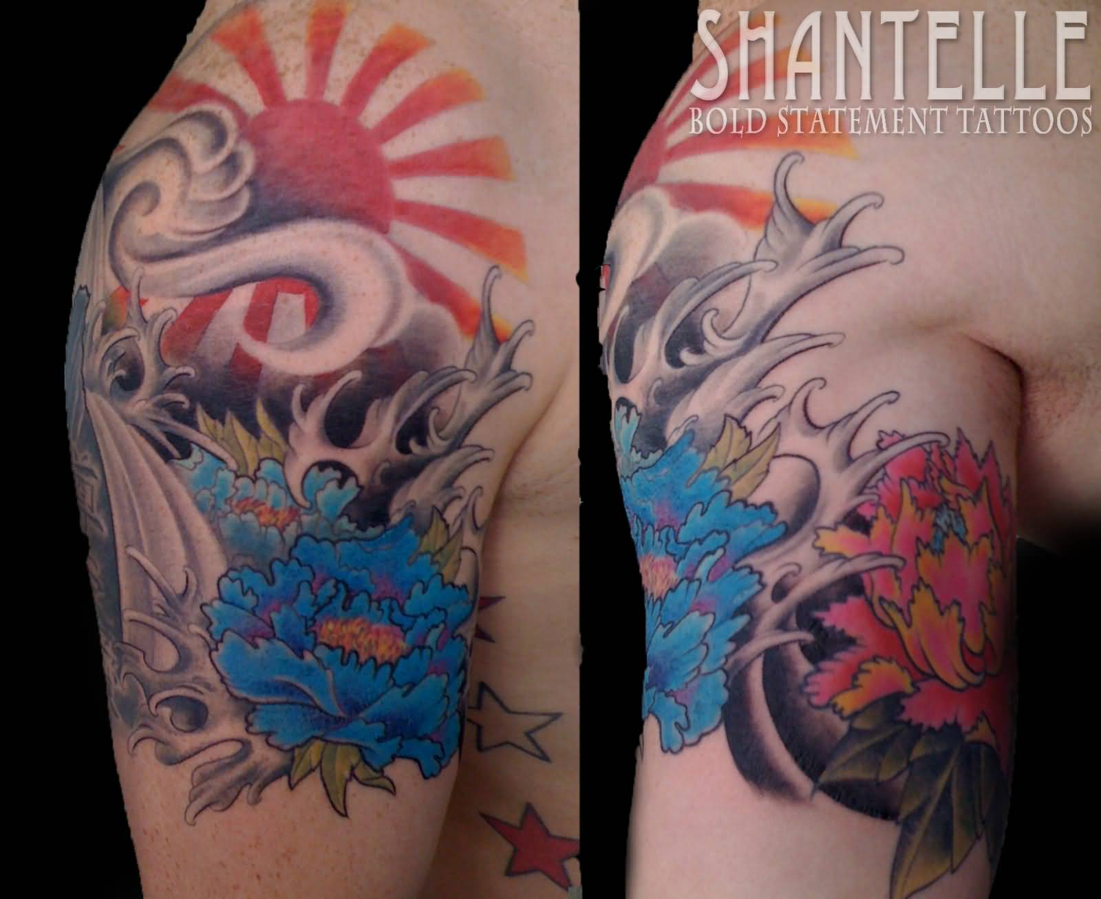 Blue Flower and Rising Sun Tattoo On Man Shoulder