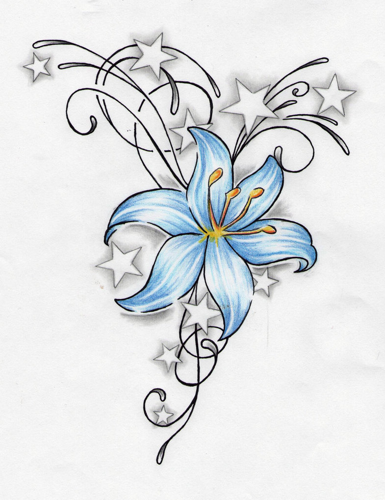 Blue lily flower and stars tattoo design izmirmasajfo