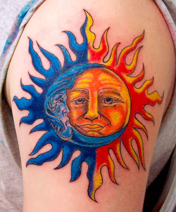 Blue Moon and Realistic Sun Tattoo On Shoulder