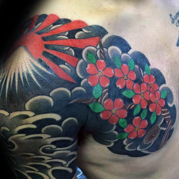 Cherry Blossom Flowers And Rising Sun Tattoo On Chest And Shoulder