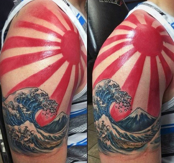 Color Ink Water Waves And Rising Sun Tattoo On Man Shoulder