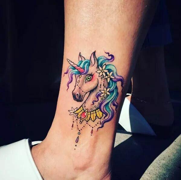 colorful feminine unicorn head tattoo on side leg. Black Bedroom Furniture Sets. Home Design Ideas
